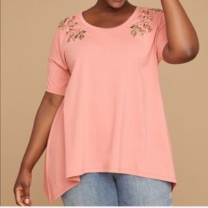 LANE BRYANT••floral embroidered top